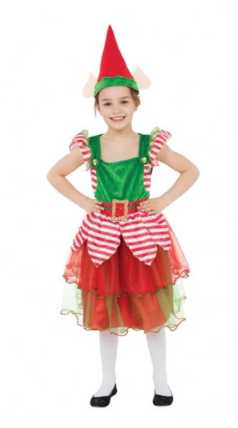 Girls Elf Girl Costume Festive Dwarf Christmas Helper Fancy Dress Outfit